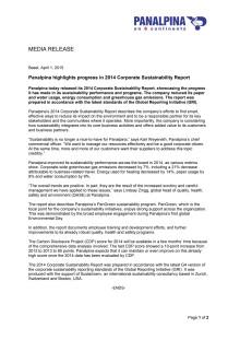 Panalpina highlights progress in 2014 Corporate Sustainability Report