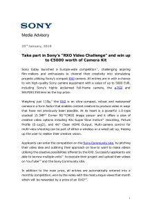 Ta del i Sonys RX0 video-konkurranse og vinn kamerautstyr for opptil 48 000 kroner