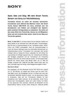 Spiel, Satz und Sieg: Mit dem Smart Tennis Sensor von Sony zur Höchstleistung