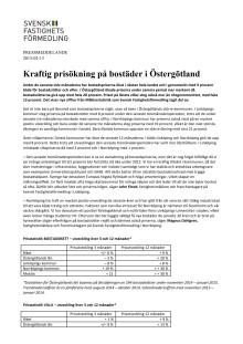 Kraftig prisökning på bostäder i Östergötland