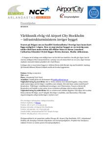 Världsunik elväg vid Airport City Stockholm