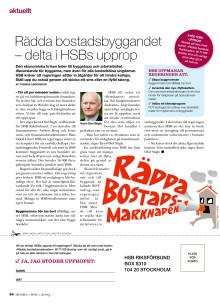 Upprop i tidningen Hemma i HSB om ökat byggande