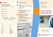 Veranstaltungsflyer zur Tagung Ethische Aspekte bei kognitiven Störungen und früher Demenz