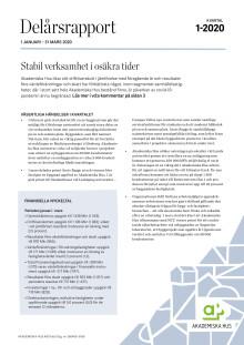 Delårsrapport 1 januari – 31 mars 2020