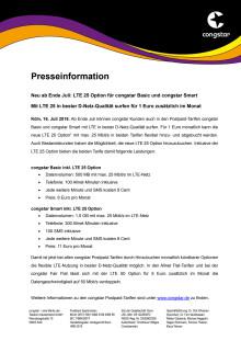 Neu ab Ende Juli: LTE 25 Option für congstar Basic und congstar Smart