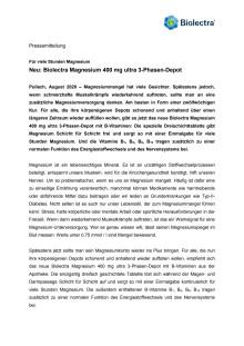 Neu: Biolectra Magnesium 400 mg ultra 3-Phasen-Depot