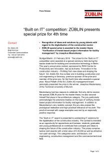 """""""Built on IT"""" competition: ZÜBLIN presents special prize for 4th time"""