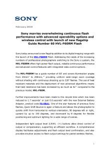 Sony lanserar 60 HVL-F60RM – ny kamerablixt med bättre prestanda och trådlös kontroll