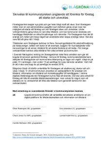 Skrivelse Blågröna till kommunstyrelsen angående att förenkla för företag att starta och utvecklas