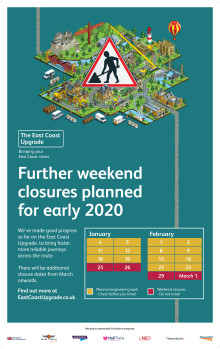 Dates announced for next major stages of East Coast Upgrade and passengers urged to plan ahead
