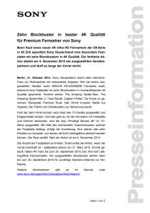 Zehn Blockbuster in bester 4K Qualität für Premium Fernseher von Sony
