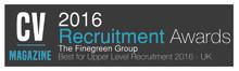 Finegreen named Best Agency for Upper Level Recruitment at the CV Magazine Recruitment Awards 2016!