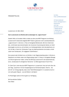 """Pressemitteilung: Zwei Louisenlunder Schüler als Mathematik-Landessieger bei """"Jugend forscht"""""""