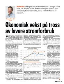 Presseklipp Kapital 2015 #6: Økonomisk vekst på tross av lavere strømforbruk