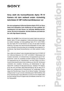 Sony stellt die hochauflösende Alpha 7R IV Kamera mit dem weltweit ersten rückwärtig belichteten 61 MP Vollformat-Bildsensor vor