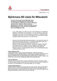 Björkmans Bil nästa för Mitsubishi