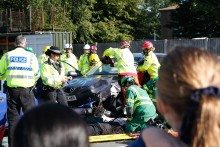 Operation Brookdale - Emergency Services join forces to re-enact scrambler collision for local school children