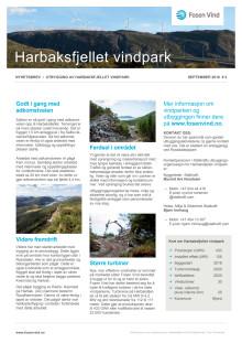 Nyhetsbrev Harbaksfjellet vindpark #2 - 2018