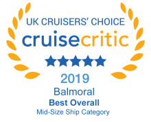 Fred. Olsen's flagship 'Balmoral' named 'Best Mid-Sized Cruise Ship' and 'Best for Dining' in Cruise Critic's '2019 UK Cruisers' Choice Awards'
