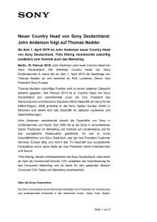 Neuer Country Head von Sony Deutschland: John Anderson folgt auf Thomas Nedder