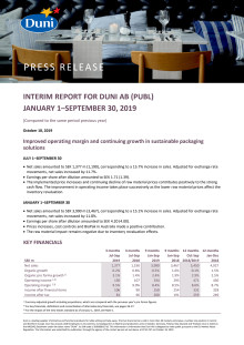 Interim Report Duni AB (publ) January 1 - 30 September 30, 2019