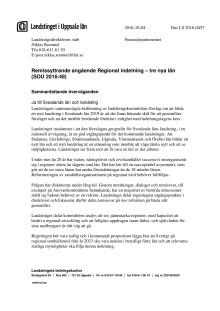 Remissyttrande från Landstinget i Uppsala län angående Regional indelning – tre nya län