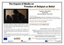 Program för lanseringen i FN: The impact of media on freedom of religion or belief