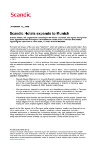 Scandic Hotels expands to Munich