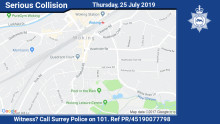 Witness appeal following serious collision on Guildford Road in Woking