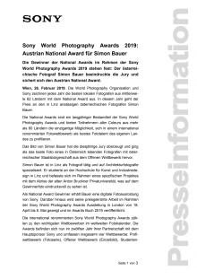 Sony World Photography Awards 2019: Austrian National Award für Simon Bauer