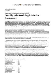 Årsresumé av bostadsmarknadsåret 2018: Kraftig prisutveckling i skånska kommuner