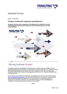 Panalpina veröffentlicht integrierten Geschäftsbericht