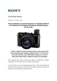 Sony presenta la nuova fotocamera compatta RX1R II con sensore di immagine full-frame retroilluminato da 42,4 MP