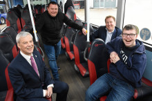 Kieran's in the driving seat thanks to Bus Buddies and Go North East