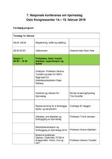 Program konferansen om hjerneslag 2019