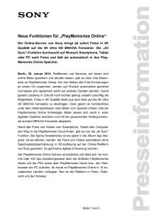 """Neue Funktionen für """"PlayMemories Online"""""""