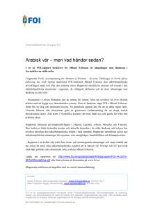 Pressmeddelande: Arabisk vår – men vad händer sedan?