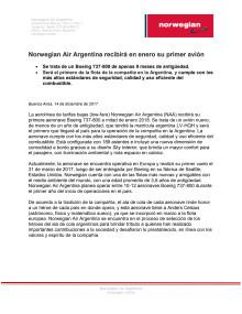 Norwegian Air Argentina recibirá en enero su primer avión