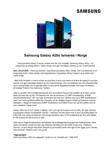 Samsung Galaxy A20s lanseres i Norge