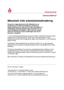 Mitsubishi inför arbetslöshetsförsäkring