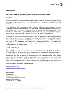 Wolf Frederic Kupatt für weitere fünf Jahre als CEO der amedes-Gruppe bestätigt