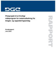 Rapport fra DGC: Pilotprojekt til et frivilligt måleprogram for metanudledning fra biogas- og opgraderingsanlæg