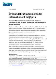 Öresundskraft nomineras till internationellt miljöpris
