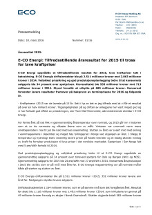 E-CO Energi: Tilfredsstillende årsresultat for 2015 til tross for lave kraftpriser