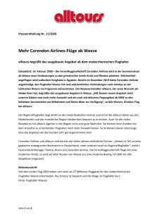 Mehr Corendon Airlines-Flüge ab Weeze - alltours begrüßt das ausgebaute Angebot ab dem niederrheinischen Flughafen