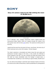 Sony α7s camera captures the ISS orbiting the moon at 28,000 km/h