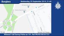 Appeal for witnesses following burglary in Woking earlier this week which left man with minor injuries
