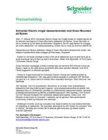 Schneider Electric inngår datasenteravtale med Green Mountain på Rjukan