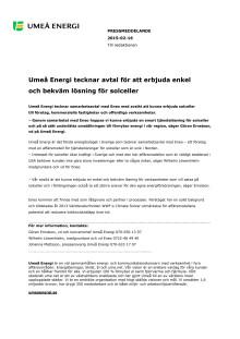 Umeå Energi tecknar avtal för att erbjuda enkel och bekväm lösning för solceller
