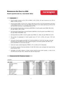 Norwegianin tulos 2012: tulos ennen veroja 623 miljoonaa kruunua